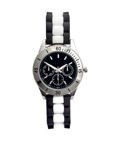 Horloge met siliconen band | Zwart/wit | Dames | H&M NL