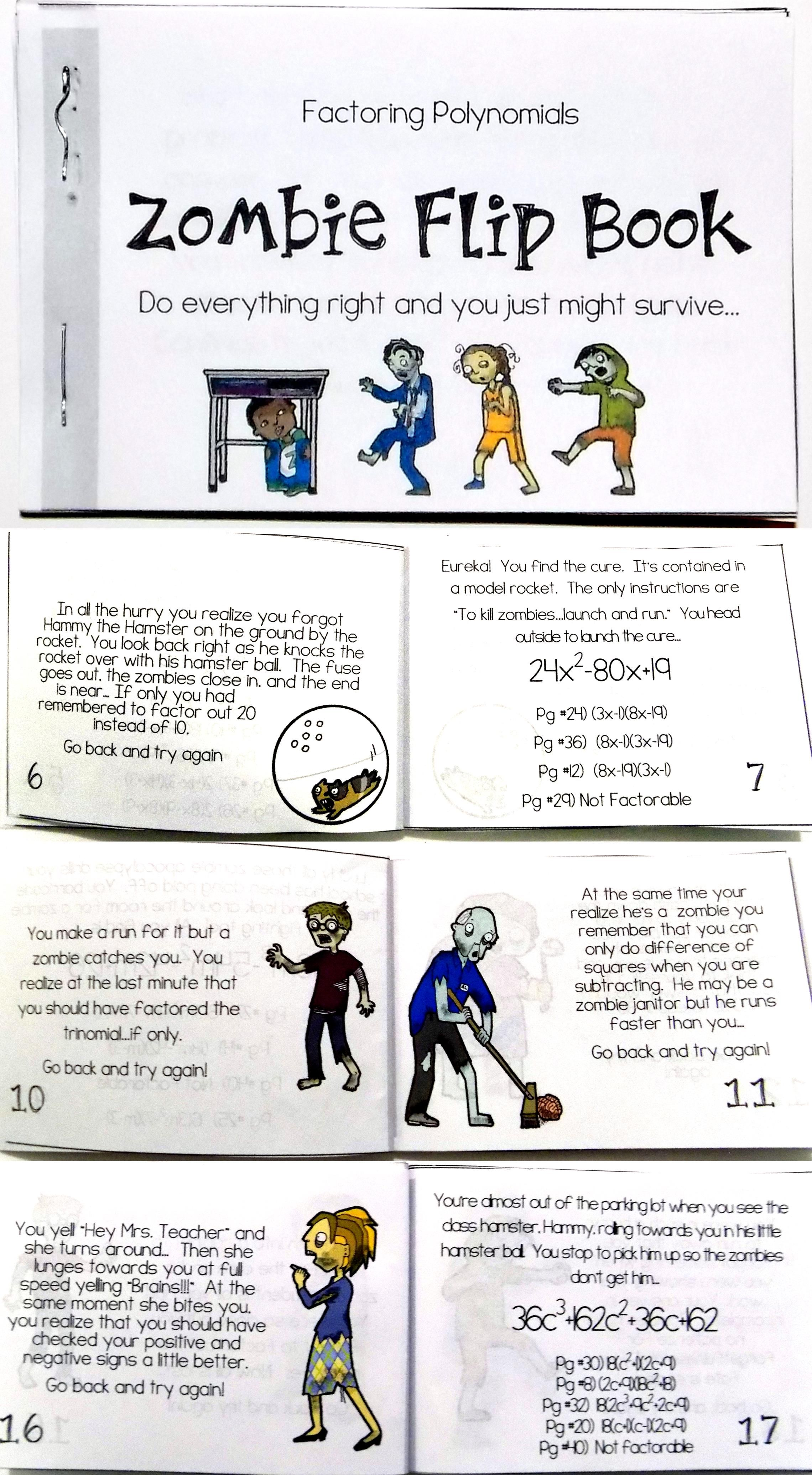 Factoring Polynomials Zombie Flip Book Math about me
