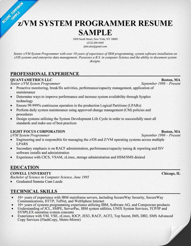 Sample of a Z Vm System #Programmer Resume Format (resumecompanion - Pc Technician Resume