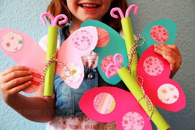 Einladungskarten Kindergeburtstag Basteln Schmetterling