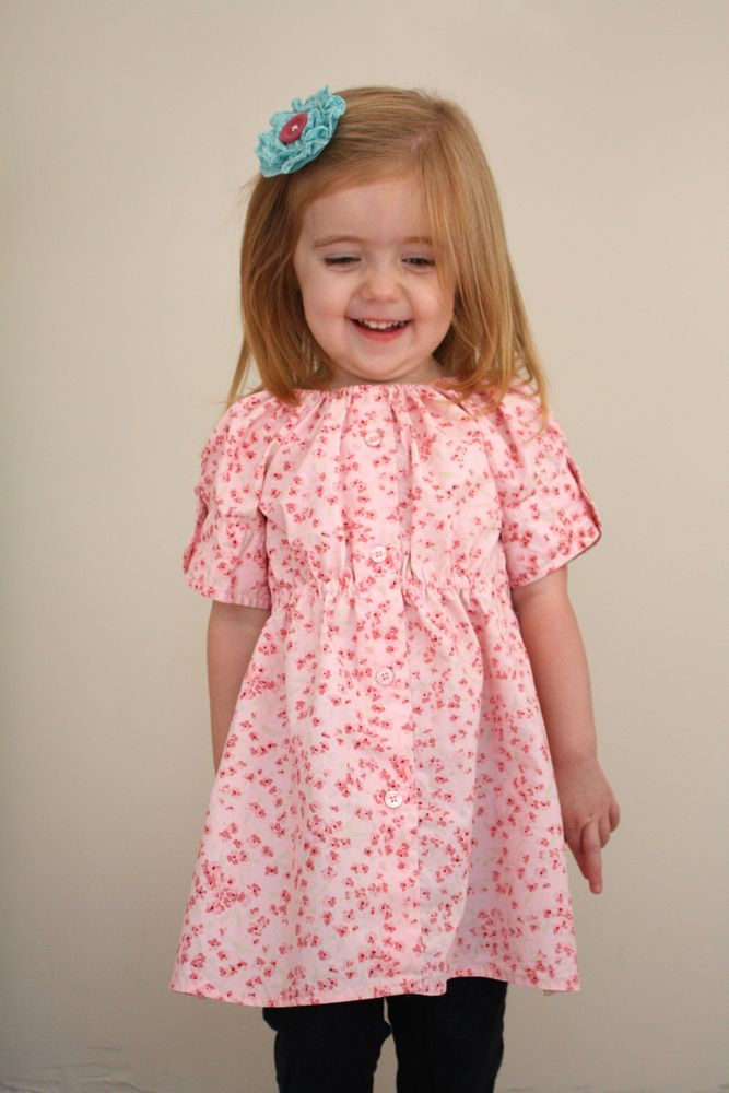 Upcycle adult shirt to girls peasant dress | Sewing | Pinterest