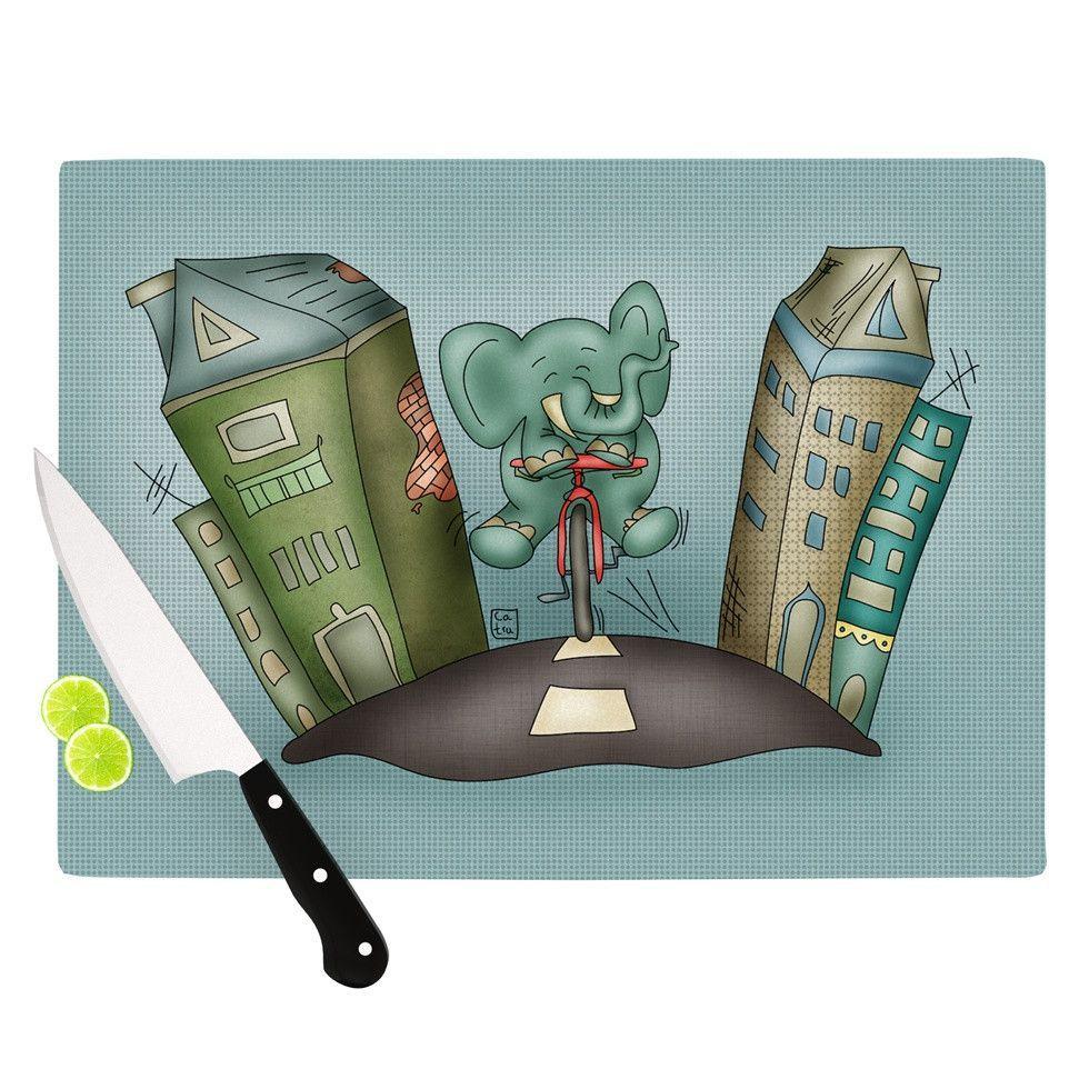 "Carina Povarchik ""Life is Good"" Elephant Blue Cutting Board"
