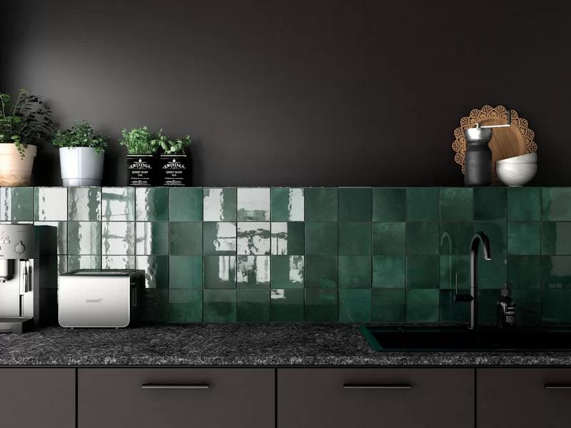 Bedrosians Cloe 5 X 5 Ceramic Mosaic Tile In Green Wayfair