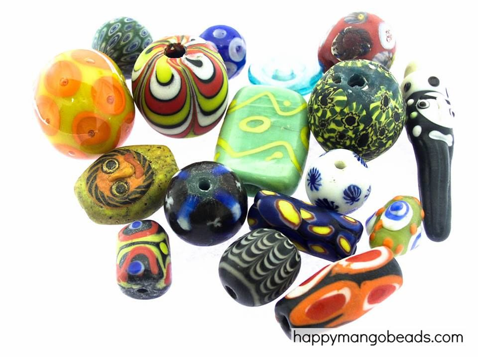 #beads Large Glass Focal Beads from Indonesia - Save 40% for a limited time at Happy Mango Beads! Shop here: http://happymangobeads.com/glass/focal-beads/