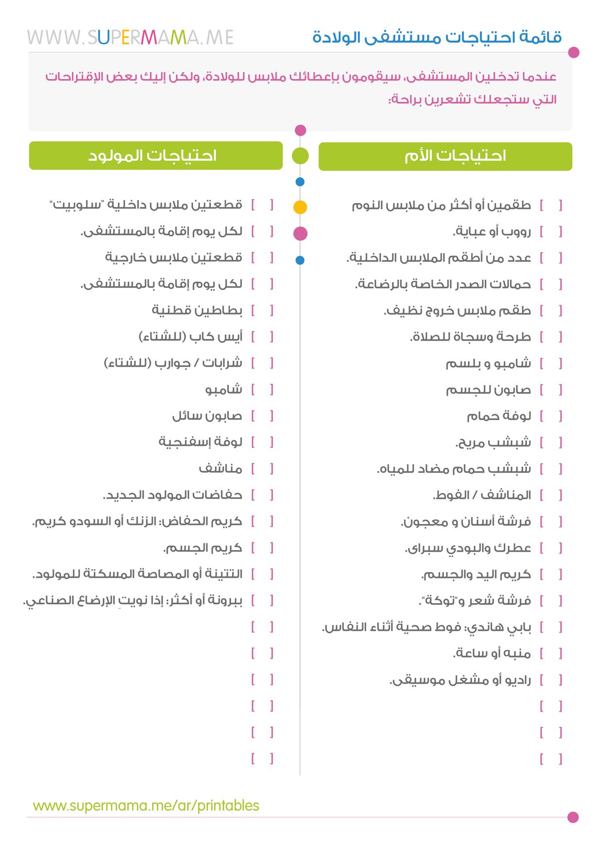 قائمة احتياجات مستشفى الولادة Baby Education Kids And Parenting Checklist