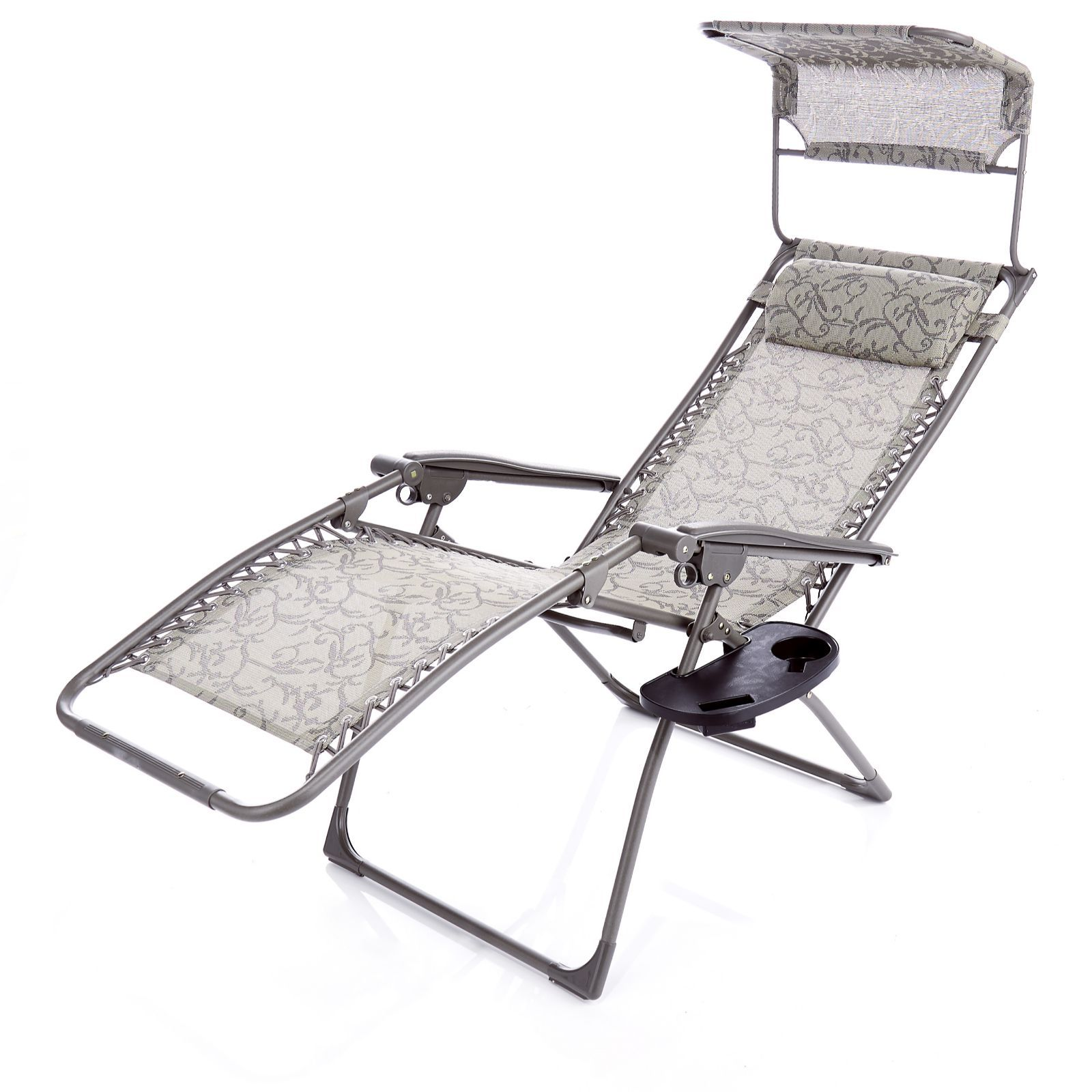 Multi Position Outdoor Recliner Chair With Canopy Drinks Holder Bag Order Online At QVCUK
