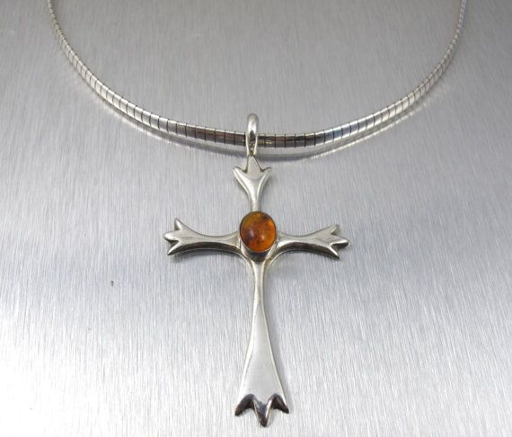 Vintage sterling amber cross collar necklace by tonettestreasures vintage sterling amber cross collar necklace by tonettestreasures mozeypictures Gallery