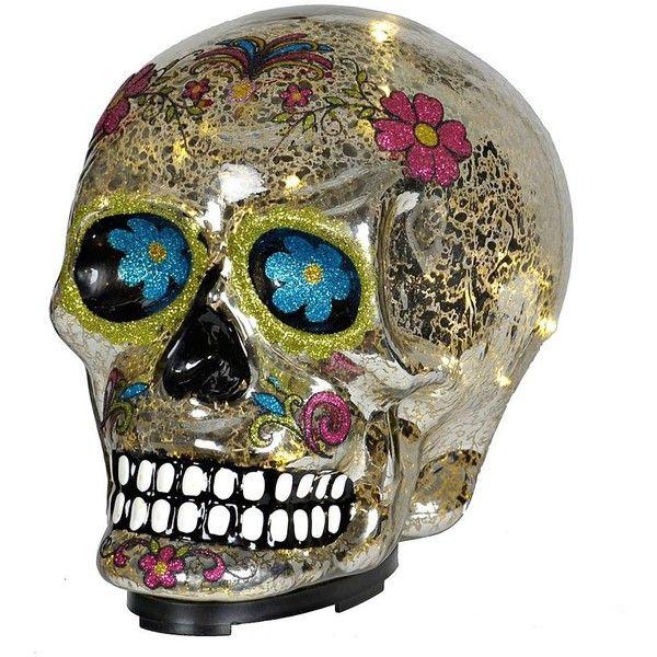 Gl Led Sugar Skull Statue 17