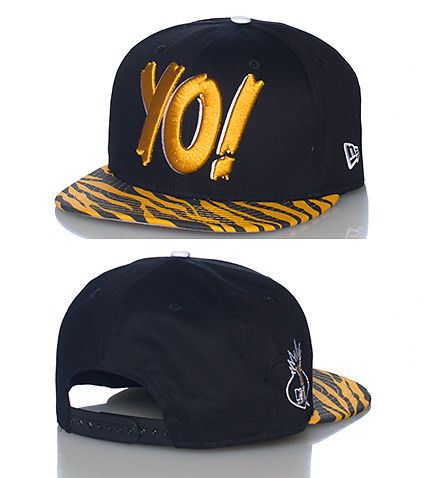 NEW ERA YO! MTV Raps edition snapback cap Adjustable strap on back of hat  Embroidered YO! logo on front Tiger print brim Logo side stitching Black  base 4e10d0a80df9