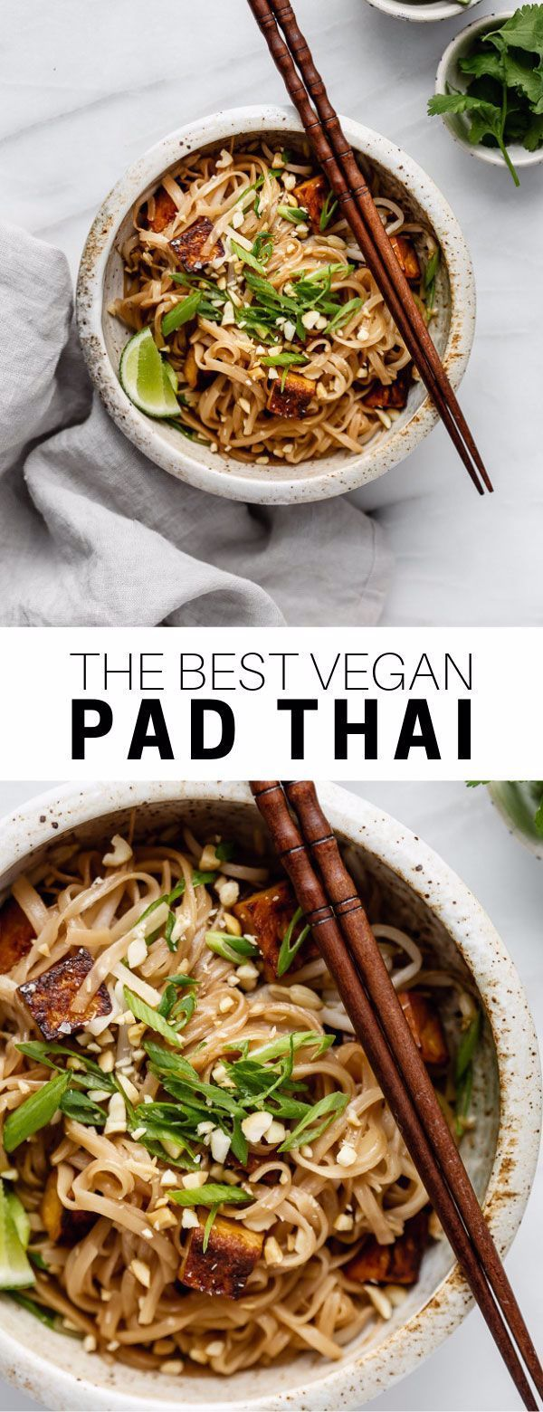 This vegan pad Thai recipe is healthy and easy to make! You'll love this noodle dish with tofu, peanuts and the most delicious pad Thai sauce! #padthai #veganrecipe #tofu #noodles #choosingchia