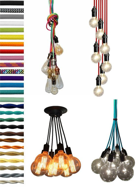 Hallwall Or Kitchen 7 Cluster Custom Any Colors   Chandelier Multi Pendant  Lighting Modern Rainbow Cloth Cords Industrial Pendant Light Ceiling  Fixture Lamp