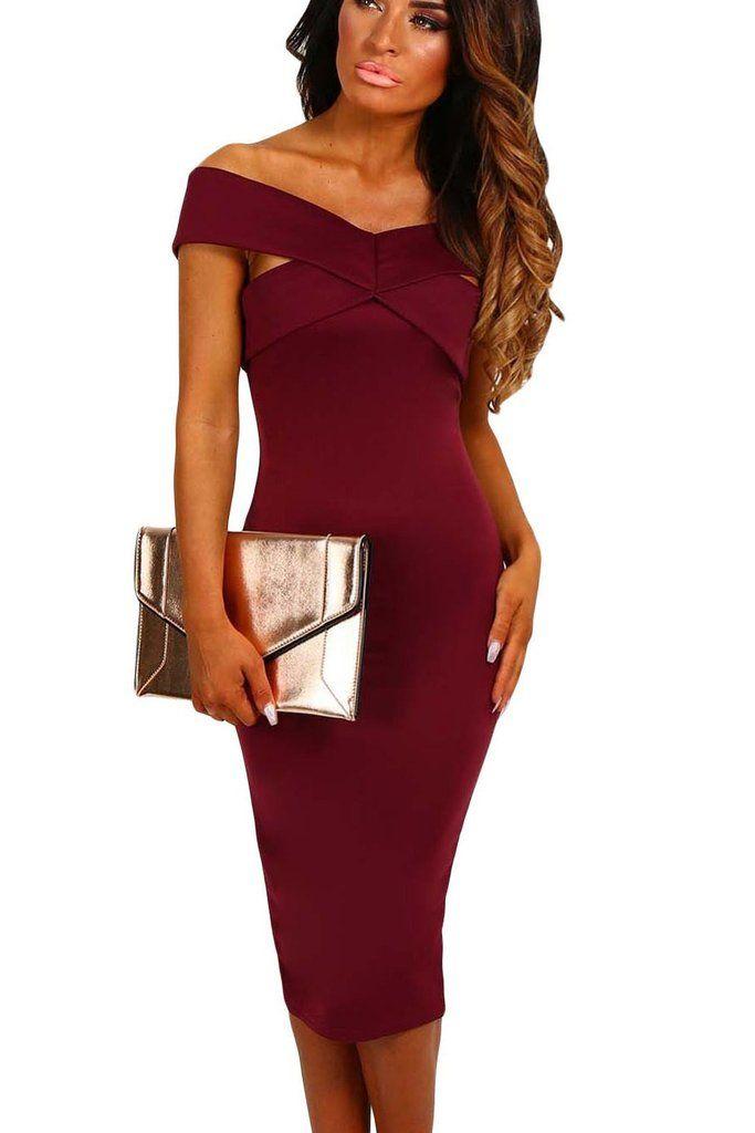 Burgundy Off Shoulder Slim Fit Midi Formal Dress Midi Dresses