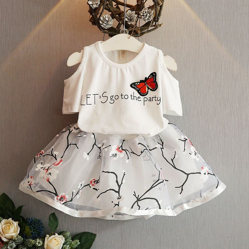 2pcs Kid Baby Girl Butterfly T-shirt+Floral Skirt Dress Party Clothes Set Outfit