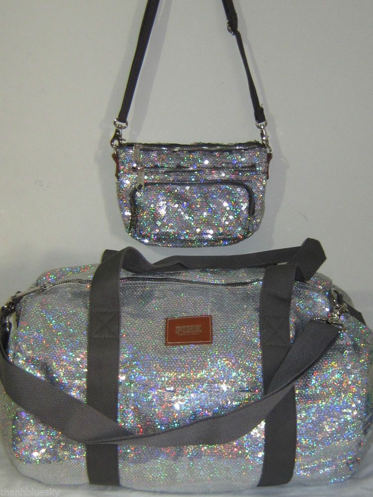 dff9317d8a LOT 2 VICTORIA SECRET PINK TRAVEL SEQUIN RAINBOW CROSSBODY TOTE MINI DUFFLE  BAG