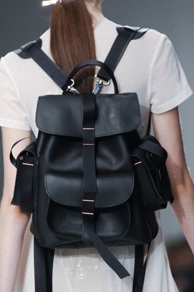 Black leather backpack, chic accessories // Marios Schwab Spring 2014