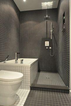 No Glass Shower And Dark Shower Area And Light Tub Area Maison Greene Bathroom Modern Bathr Bathroom Design Small Small Bathroom Remodel Small Bathroom