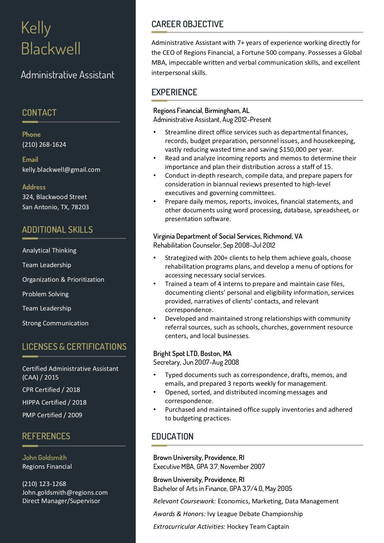 Resume Template 6A RC in 2020 Resume templates, Verbal