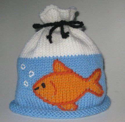 Goldfish in a bag hat knitting pattern novelty hat knitting fun hats knitting patterns dt1010fo