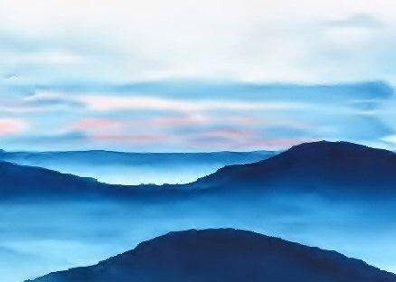 Modern Art Blue Ridge Mountains Watercolor Landscape Print Watercolor Painting Blue Painting Landscape Sunset Print Cloud Sky Minimalist Watercolor Mountains Watercolor Landscape Landscape Paintings