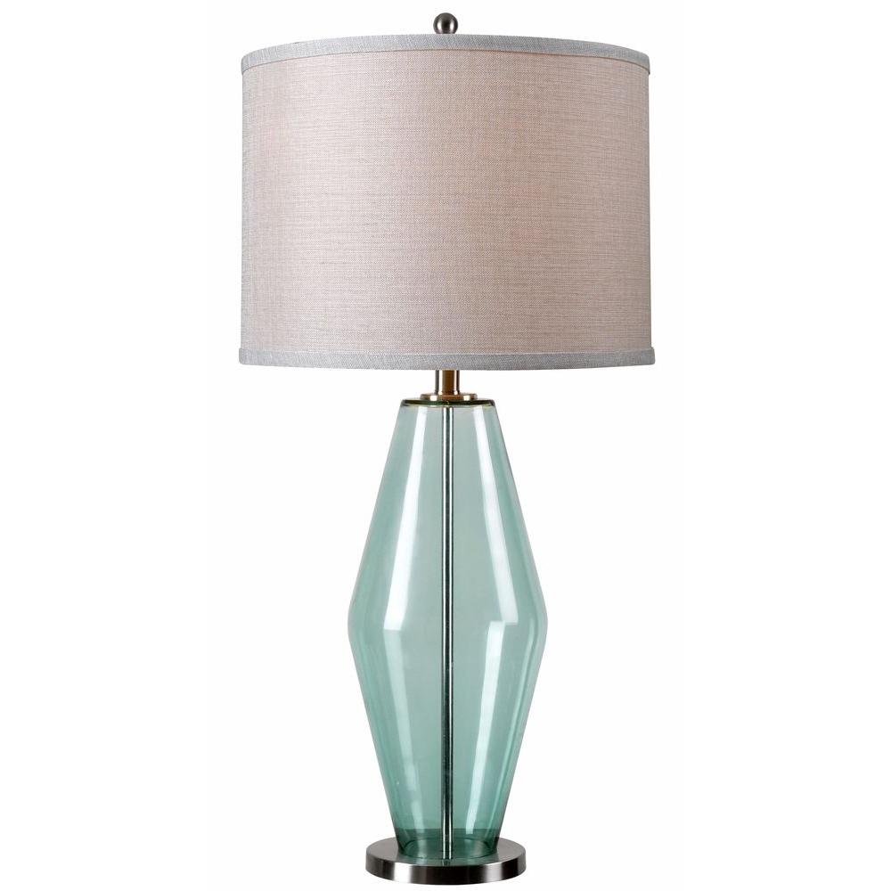 Unbranded Azure 31 In Teal Glass Table Lamp 32315teal The Home Depot Lamp Table Lamp Light Table