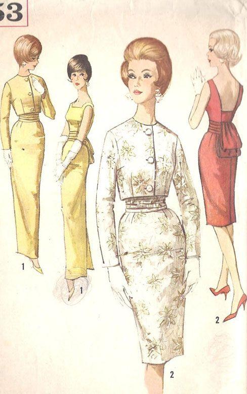 Simplicity 4653 1960s dress and jacket | Figurines de los 50\'s y ...