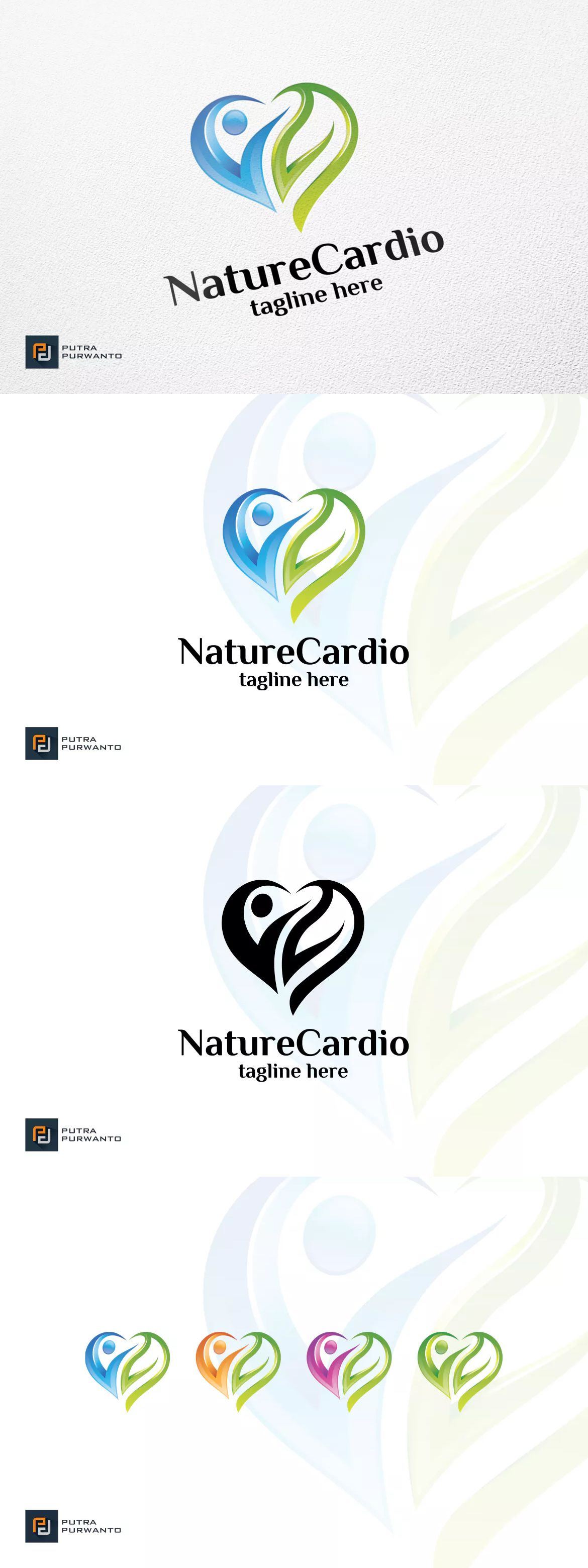 Nature Cardio Logo Template AI, EPS Logo templates