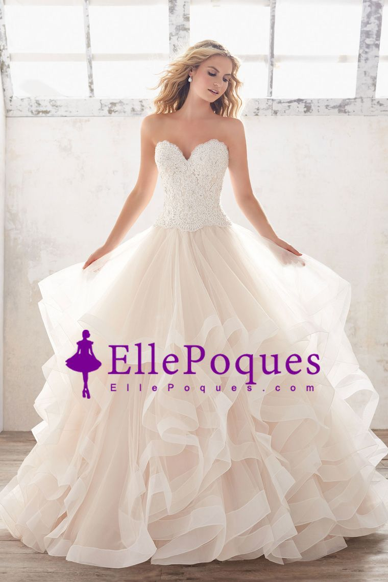 wedding dresses sweetheart tulle with applique and beads