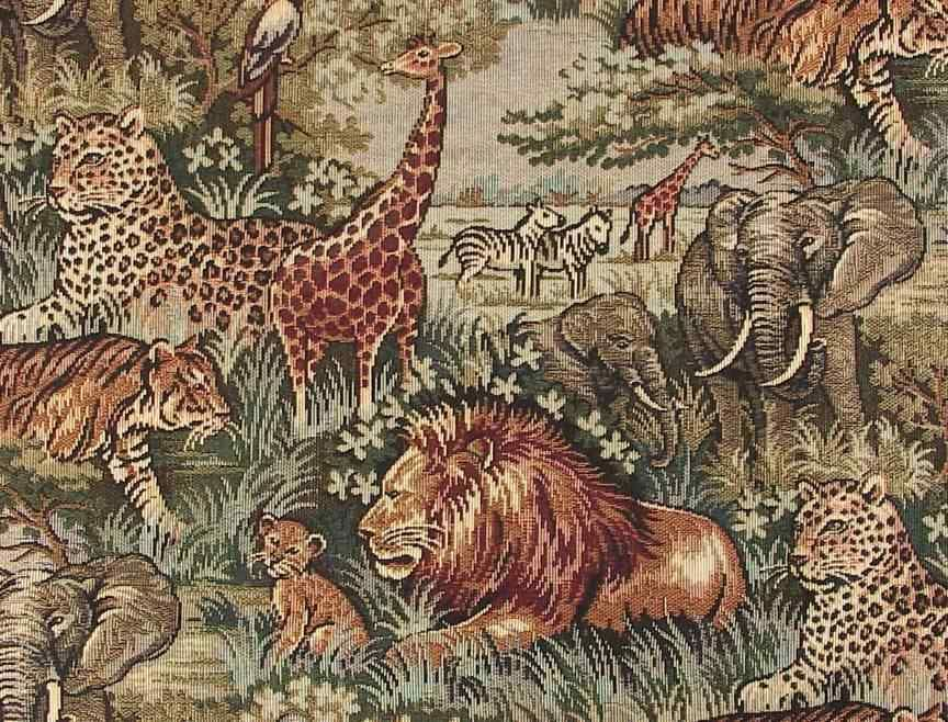 Safari African Animals Fabric With Lion Elephant Tiger And