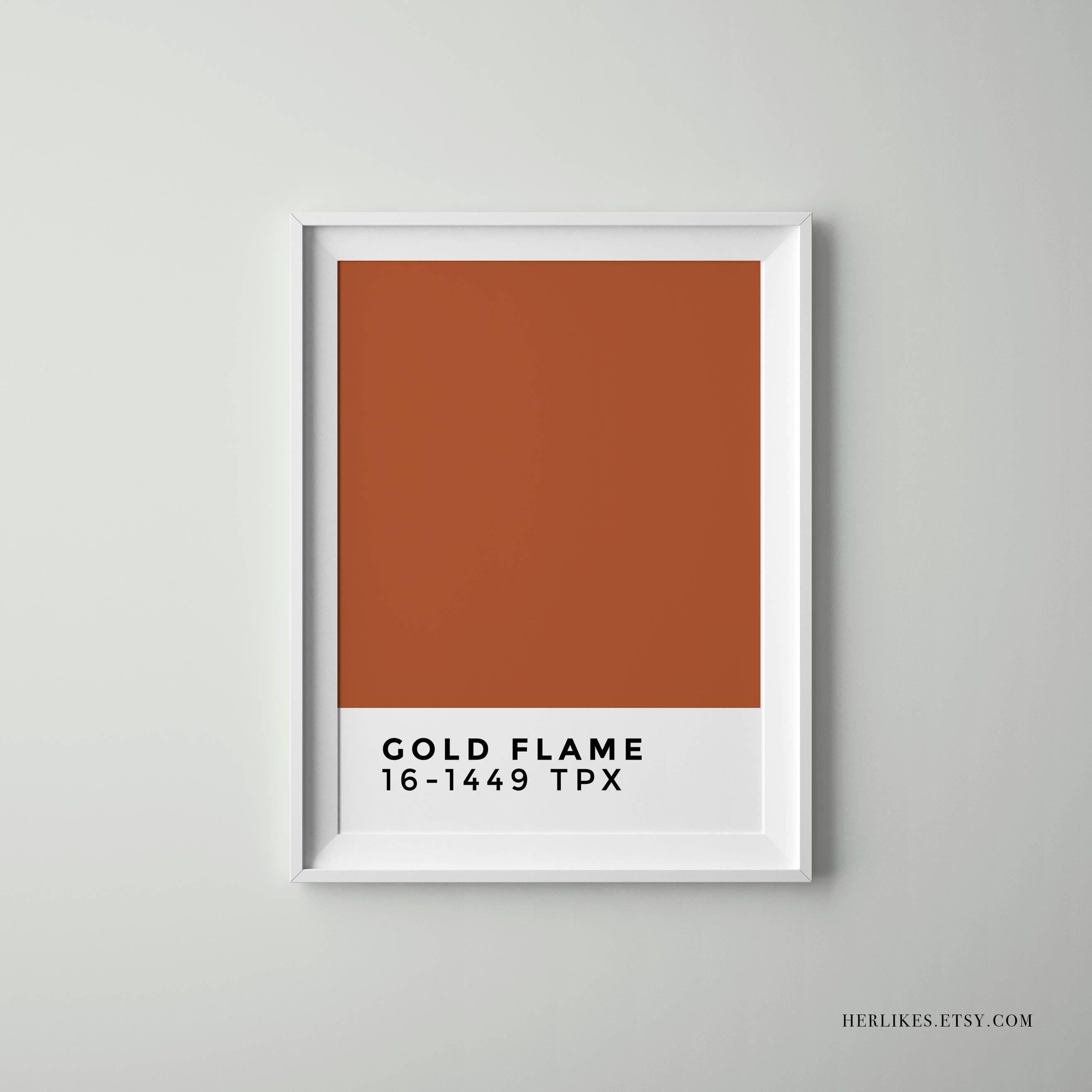 Gold Flame Pantone Minimalist Home Decor Scandinavian Decor