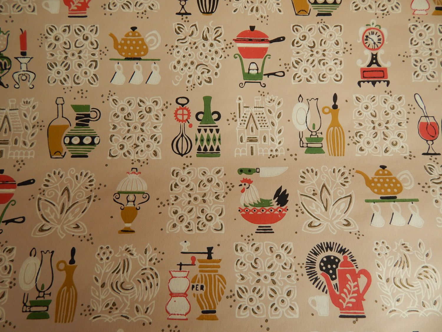 1950s Kitchen Wallpaper Pale Peach Pink With By Solachristine Kitchen Wallpaper 1950s Kitchen Wallpaper 1950s Wallpaper