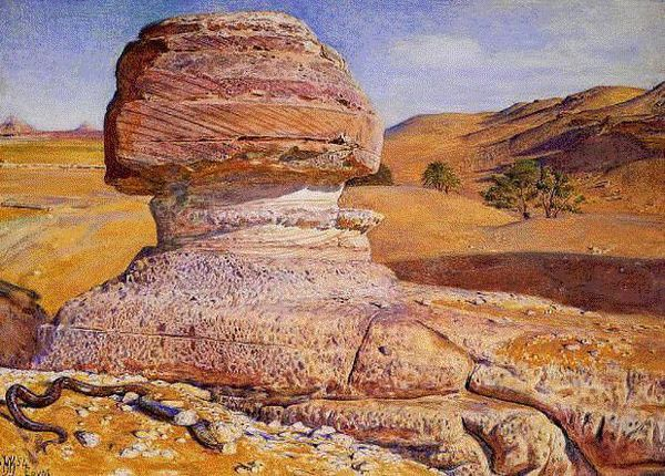 William Holman Hunt: The Sphinx Gizeh Looking towards the Pyramids of Sakhara (1854)