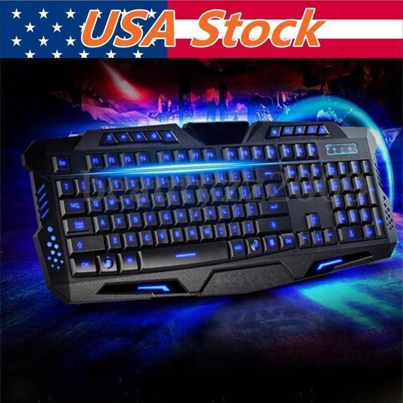 Multimedia 3Colors LED Illuminated Ergonomic USB Backlight Wired Gaming Keyboard