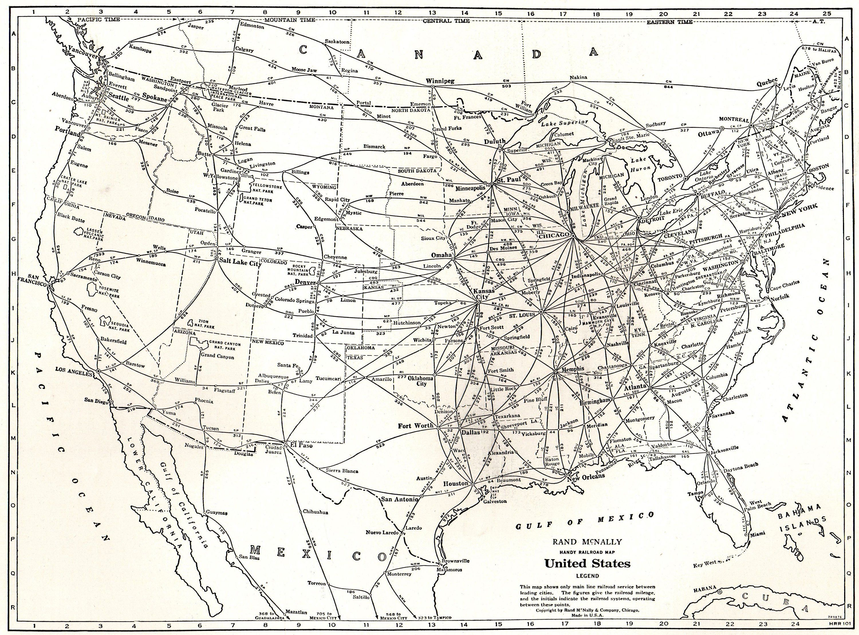 1942 Vintage UNITED STATES Map RAILROAD Map Usa Map Black and White