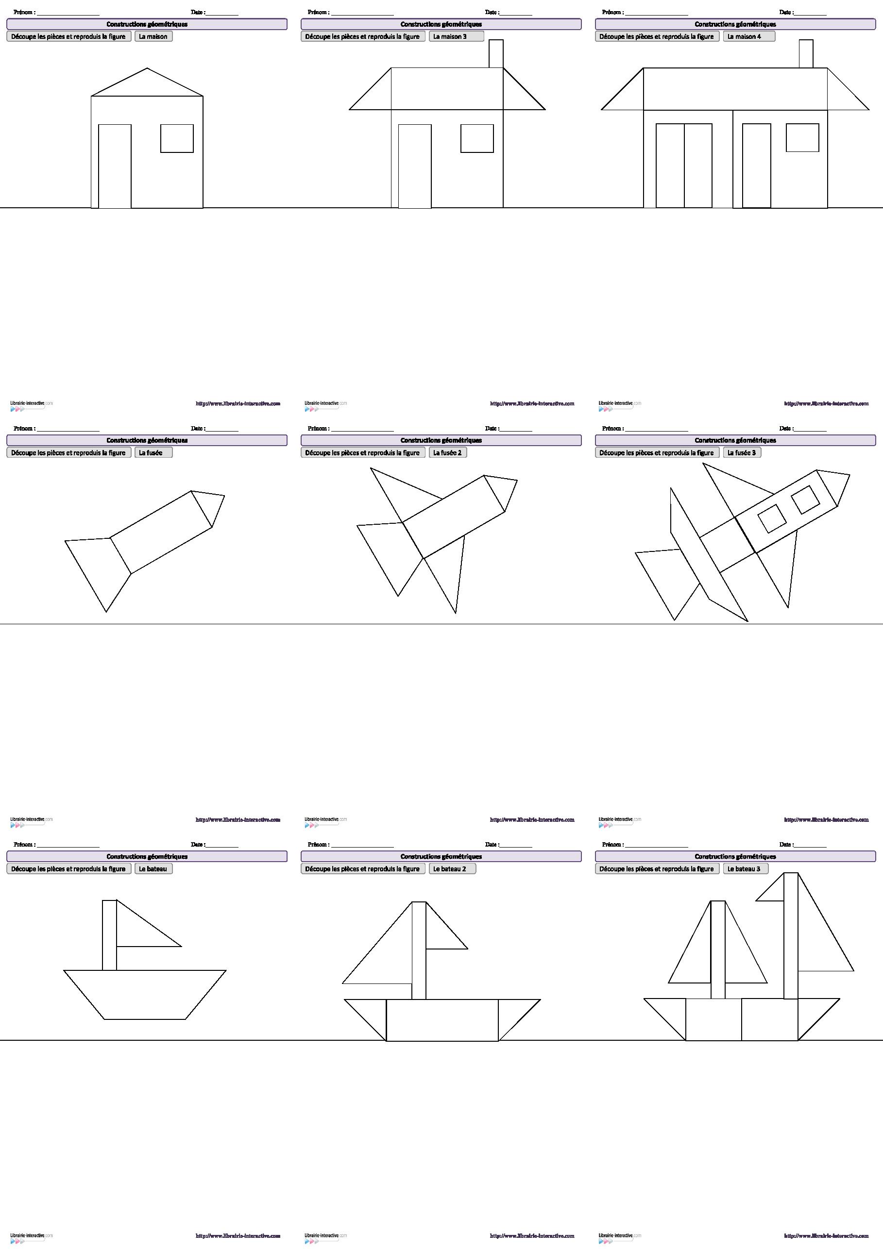 10 dessins amusants reproduire l 39 aide de figures g om triques de la gs au ce1 jeux et. Black Bedroom Furniture Sets. Home Design Ideas