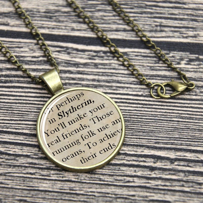 HUFFLEPUFF SORTING HAT HOUSE SONG Harry Potter JK Rowling Quote Pendant Necklace
