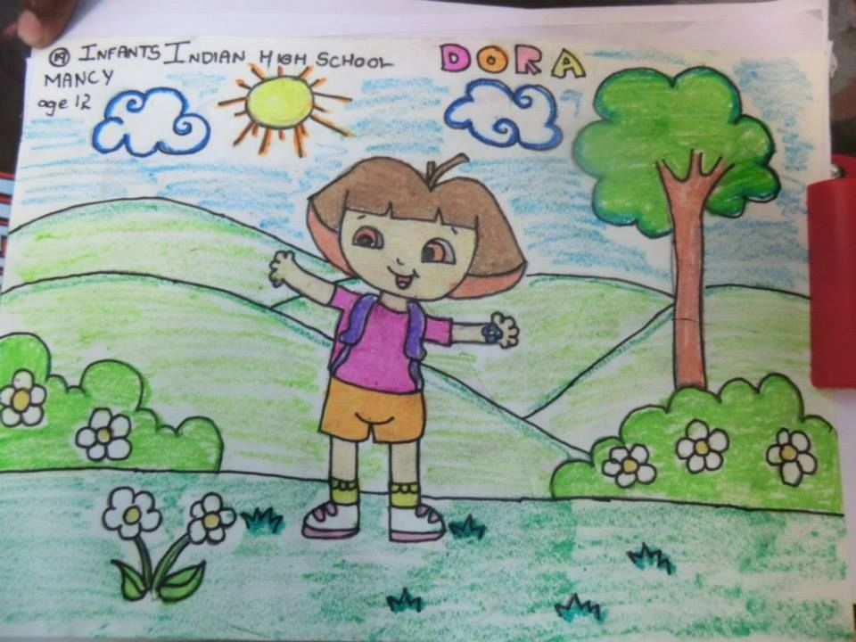 painting of dora cartoon amiation - Cartoon Painting For Kids