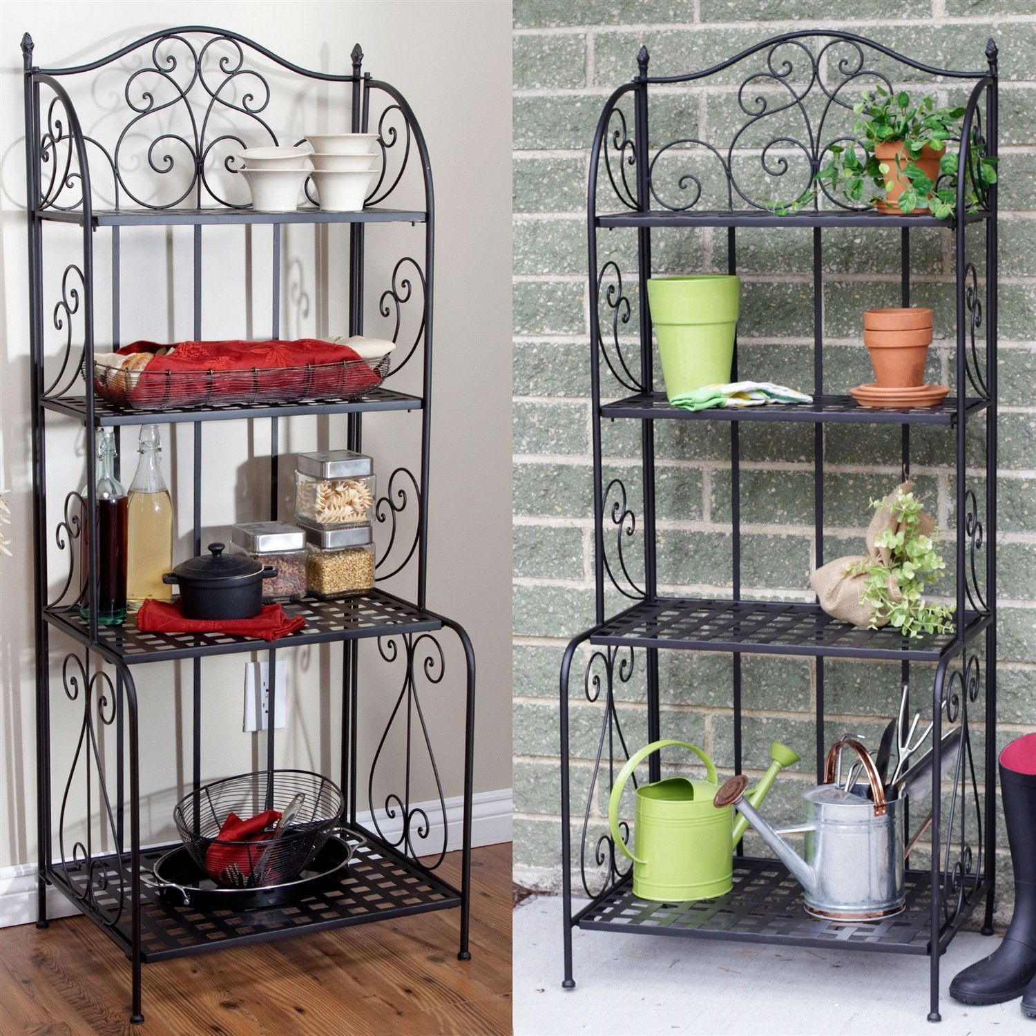 Green Metal Plant Stand Indoor Outdoor Folding Metal Bakers Rack Plant Stand