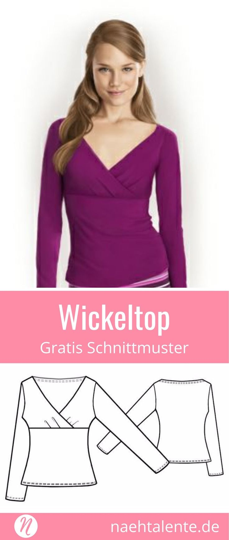 Wickelshirt für Damen #shirtschnittmuster