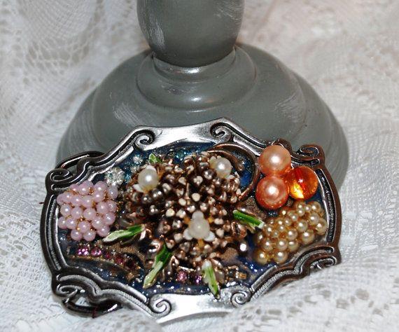 Bling a Ding Vintage Flower Brooch Belt Buckle by KimberlyOArt, $110.00