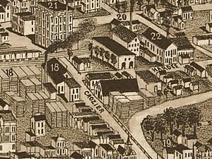 Detail of an 1886 map of Knoxville, showing what is now the Old City on knoxville iowa city map, knoxville courthouse, knoxville tennessee on map, knoxville railroad map, knoxville old city map, knoxville md map, knoxville sites, knox tn map, knoxville old city historic district, knoxville zip code map, knoxville road map, west knoxville tn map, knoxville suburbs, knoxville area map, knoxville lakes, knoxville ia map, knoxville smokies, johns creek ga zip code map, west town mall knoxville map,