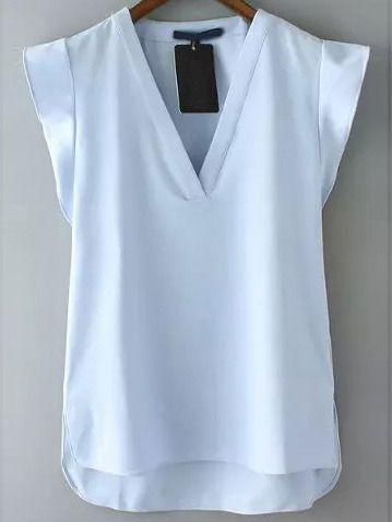 ba04ab870a5 Blue V Neck Short Sleeve Casual Blouse