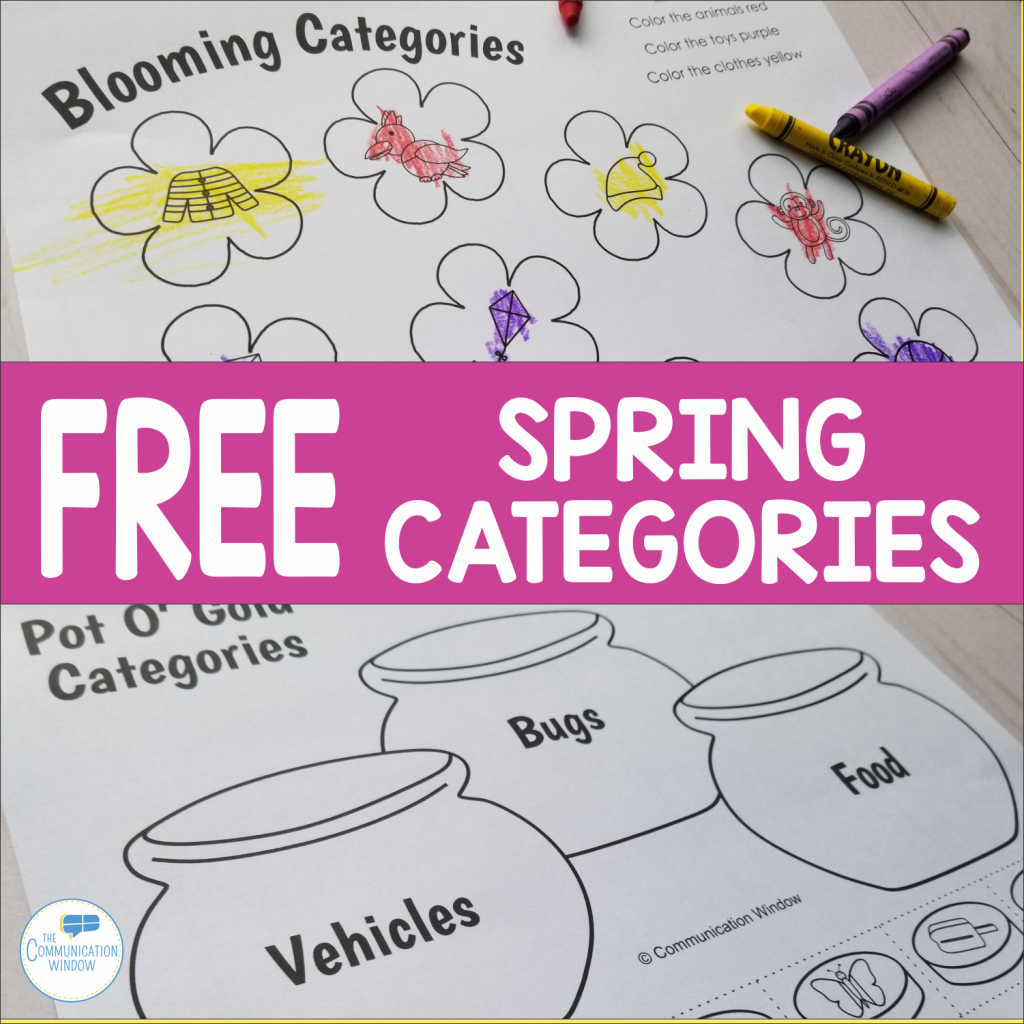 Spring Categories Cut Color And Glue Free Worksheets