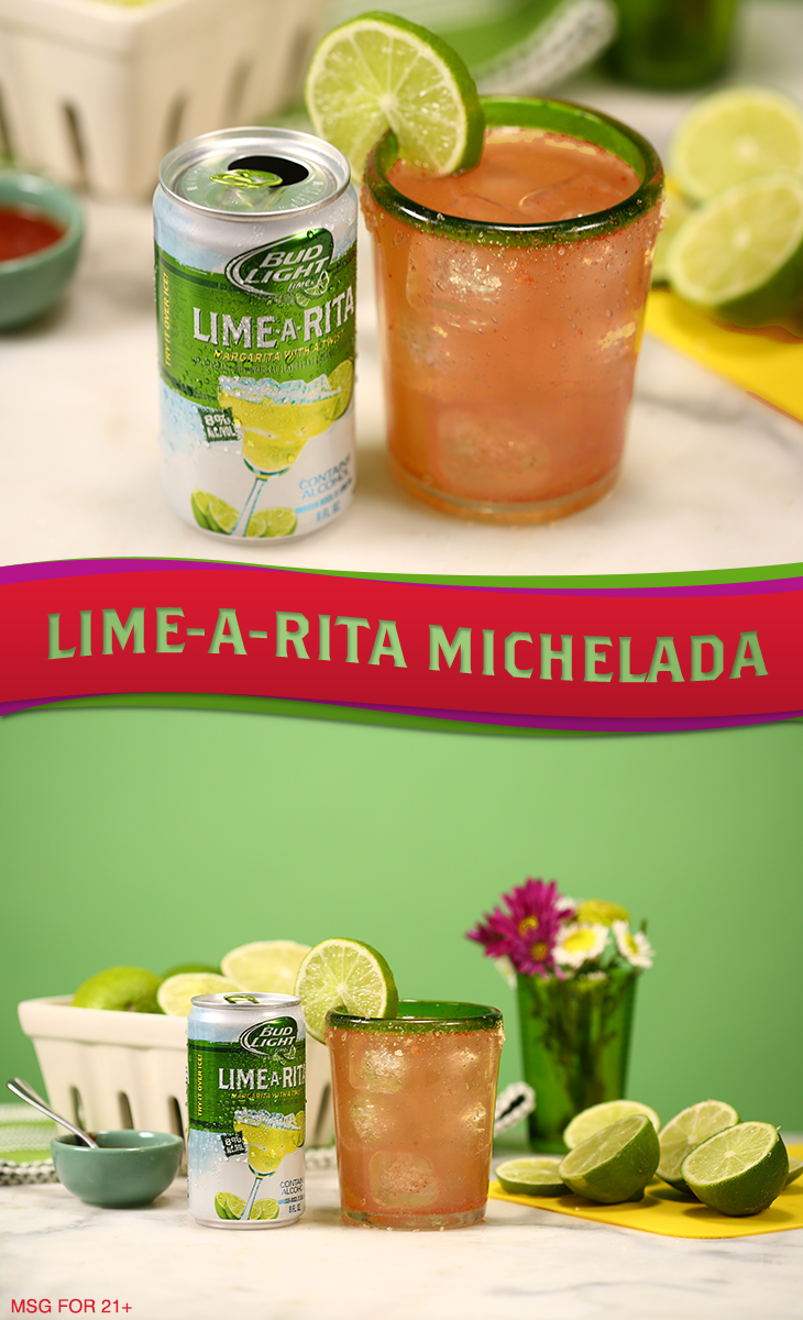 Spice up your fiesta routine with this Lime-A-Rita Michelada cocktail recipe! 1) Rub lime around the rim of the glass and dip into salt and cayenne pepper. 2) Fill the glass with ice and pour 8 oz Bud Light Lime Lime-A-Rita over ice. 3) Top with hot sauce and lime juice. 4) Give a quick, short stir to twist it up. 5) Garnish with a lime wheel and serve!