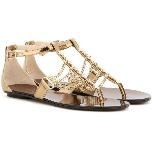 21fd4e1ddbfd Jimmy Choo Wallace Flat Embellished Leather Sandals ( 535) ❤ liked on  Polyvore featuring shoes