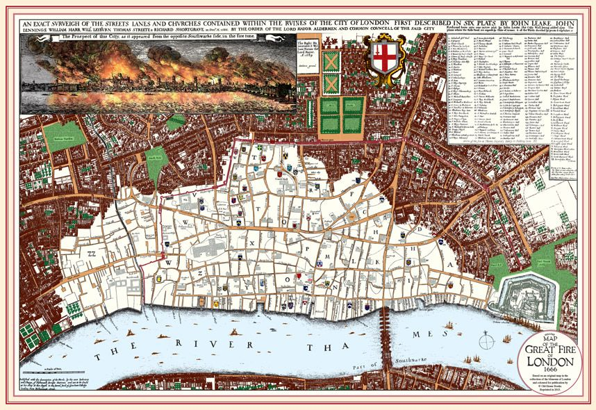Great London Map.Historical London Maps Steph 20 11 13 Board The Great Fire Great