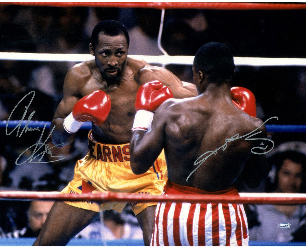 Thomas Hearns V Sugar Ray Leonard Dual Signed 16x20 Photo Professional Boxer Combat Sport Boxing Champions