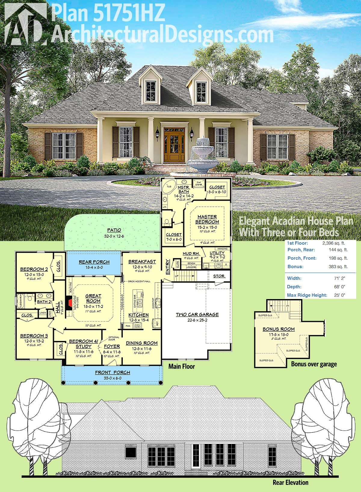 Plan 51751hz elegant acadian house plan with three or for House plans with bonus room