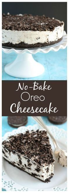 An easy No-Bake Oreo Cheesecake with an Oreo crust! This no-bake cheesecake makes a perfect dessert for any time of year! #cheesecakes