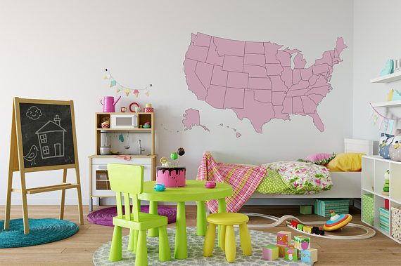 US Map Wall Decal On Vinyl USA Map Decal United States Decal - Us map wall decal