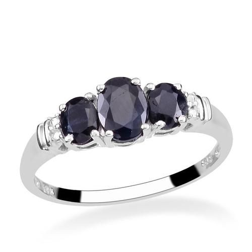 Sz 7 Genuine 2.4ctw Black Sapphire Sterling Ring. Starting at $14 on Tophatter.com!